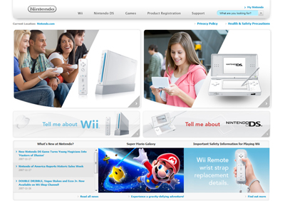 New Nintendo.com Website Screenshot
