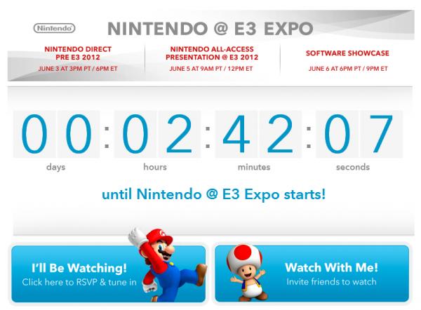 Nintendo Pre-E3 2012 Countdown Screenshot