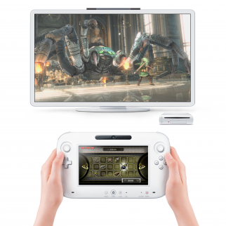 High Resolution Nintendo Wii U Console + Controller + TV Playing Zelda Wii U