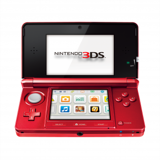 Flame Red Nintendo 3DS open at an angle