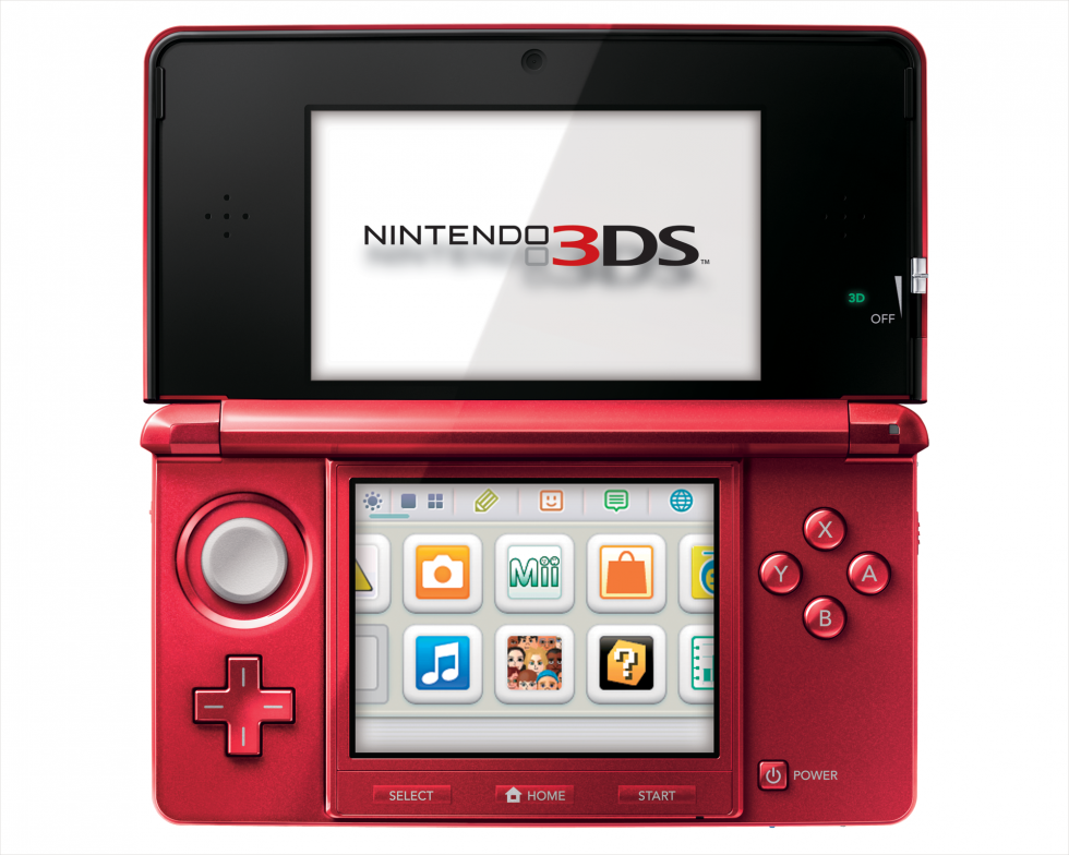 Flame Red Nintendo 3DS open all the way