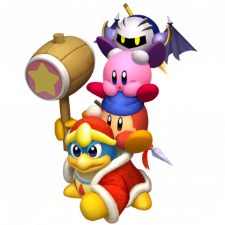 King Dedede with Waddle Dee on his back with Kirby on his back with Meta Knight on his back