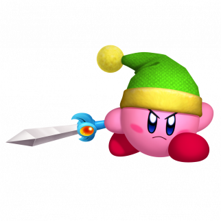 Kirby wearing Link's hat and holding a sword