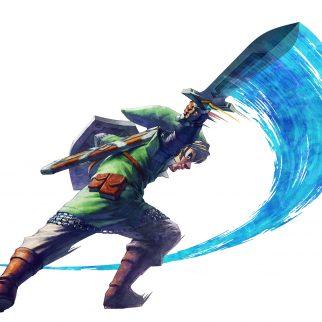 Skyward Sword Link Slashing Sward Right with Fury!