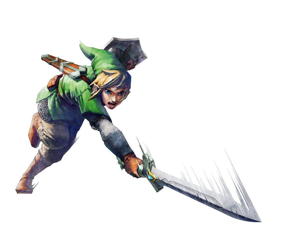 Skyward Sword Link Slashing Sword Down