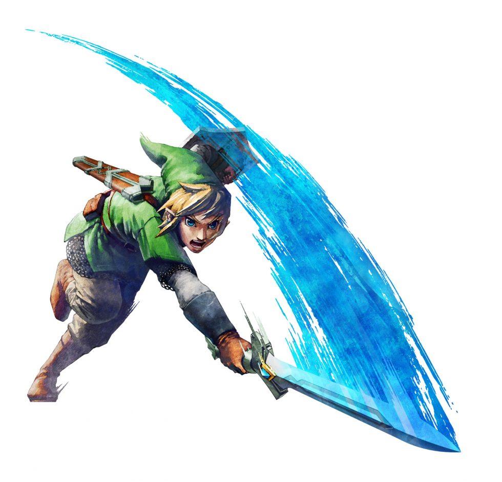 Skyward Sword Link Slashing Down with Fury!