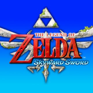 The Legend of Zelda Skyward Sword Logo on Blue Gradient