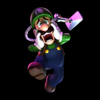 Scared Luigi Holding Cheeks