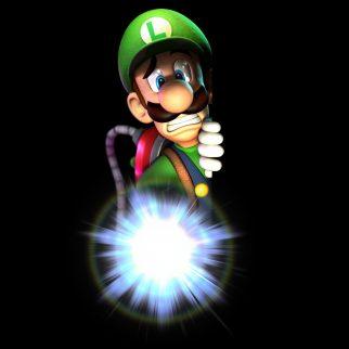 Scared Luigi Holding Flashlight