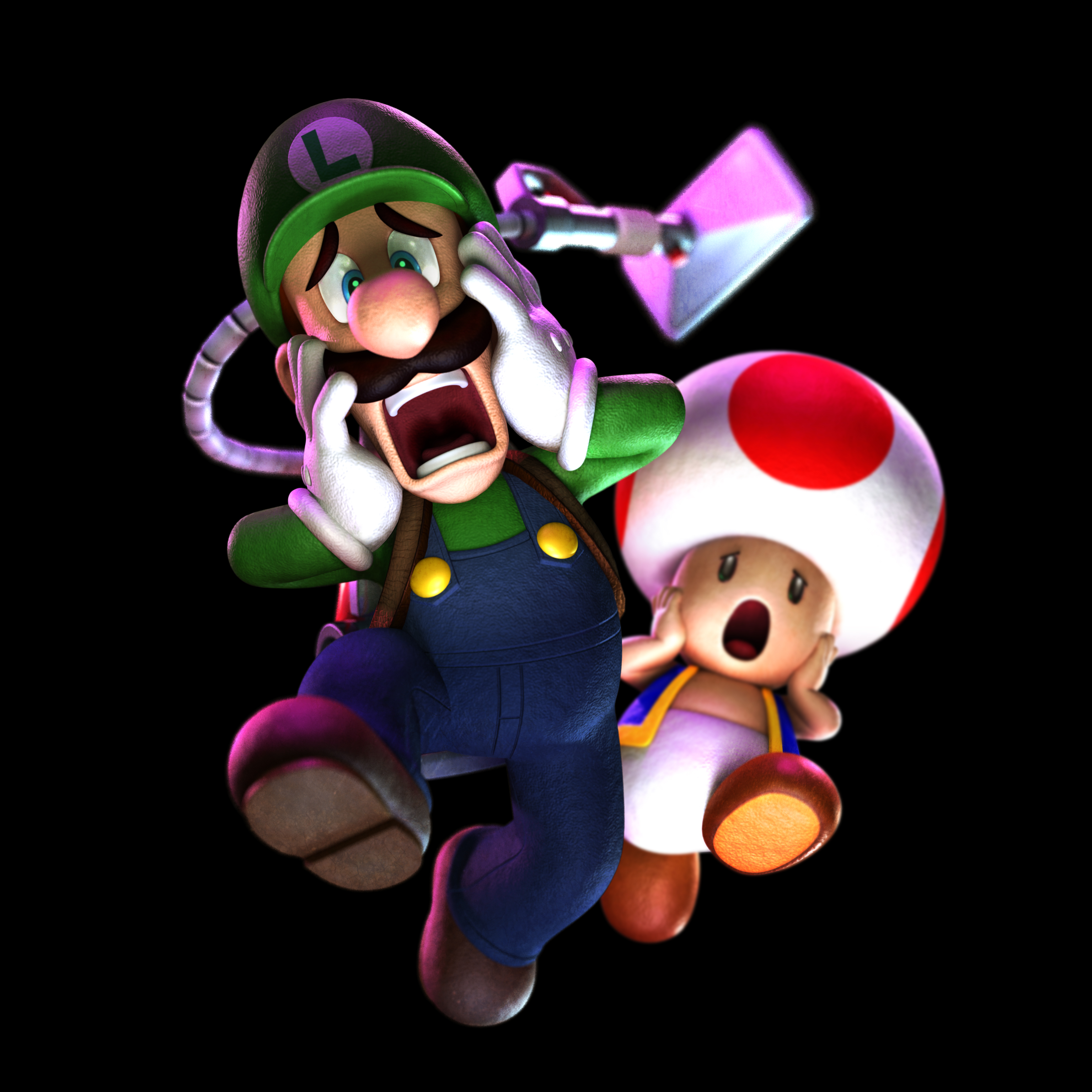 Luigi's Mansion: Dark Moon Art » Scared Luigi and Toad